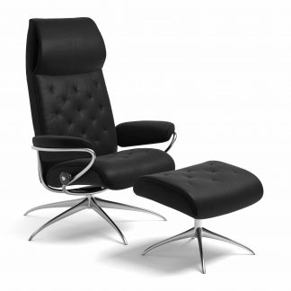 Sessel METRO High Back mit Hocker Leder Batick schwarz Starbase Gestell chrom Stressless