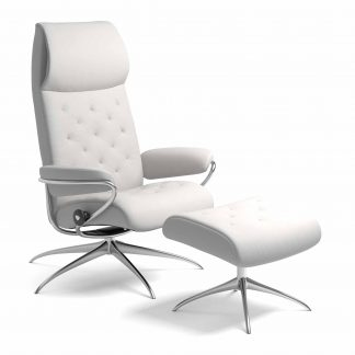 Sessel METRO High Back mit Hocker Leder Batick snow Starbase Gestell chrom Stressless