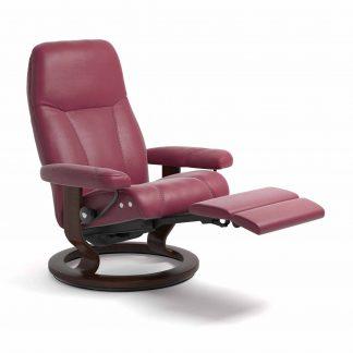 Sessel CONSUL Classic Legcomfort Leder Paloma beet red Gestell braun Stressless