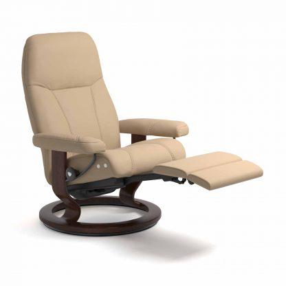 Sessel CONSUL Classic Legcomfort Leder Paloma beige Gestell braun Stressless