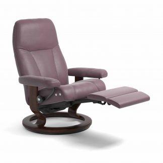 Sessel CONSUL Classic Legcomfort Leder Paloma purple plum Gestell braun Stressless