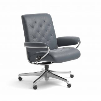Sessel METRO Low Back Home Office Leder Batick atlantic blue Starbase Gestell chrom mit Rollen Stressless