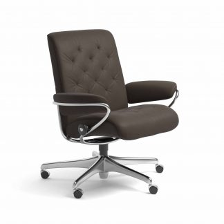 Sessel METRO Low Back Home Office Leder Batick braun Starbase Gestell chrom mit Rollen Stressless