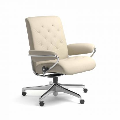 Sessel METRO Low Back Home Office Leder Batick cream Starbase Gestell chrom mit Rollen Stressless