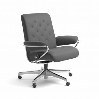 Sessel METRO Low Back Home Office Leder Batick grau Starbase Gestell chrom mit Rollen Stressless