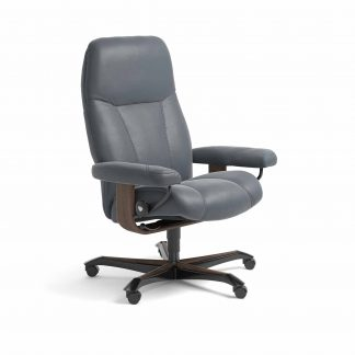 Sessel CONSUL Home Office Leder Batick atlantic blue Gestell walnuss mit Rollen Stressless