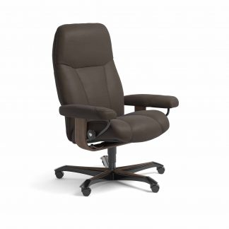 Sessel CONSUL Home Office Leder Batick braun Gestell walnuss mit Rollen Stressless