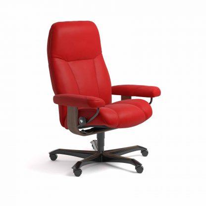 Sessel CONSUL Home Office Leder Batick chilli red Gestell walnuss mit Rollen Stressless