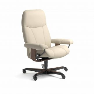 Sessel CONSUL Home Office Leder Batick cream Gestell walnuss mit Rollen Stressless