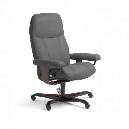 Sessel CONSUL Home Office Leder Batick grau Gestell walnuss mit Rollen Stressless