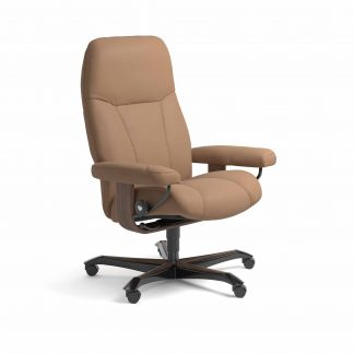 Sessel CONSUL Home Office Leder Batick latte Gestell walnuss mit Rollen Stressless