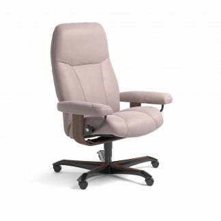 Sessel CONSUL Home Office Leder Batick smoke rose Gestell walnuss mit Rollen Stressless