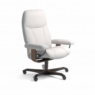 Sessel CONSUL Home Office Leder Batick snow Gestell walnuss mit Rollen Stressless