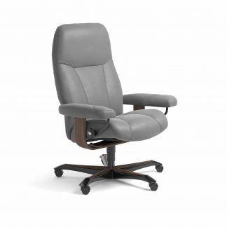 Sessel CONSUL Home Office Leder Batick wild dove Gestell walnuss mit Rollen Stressless