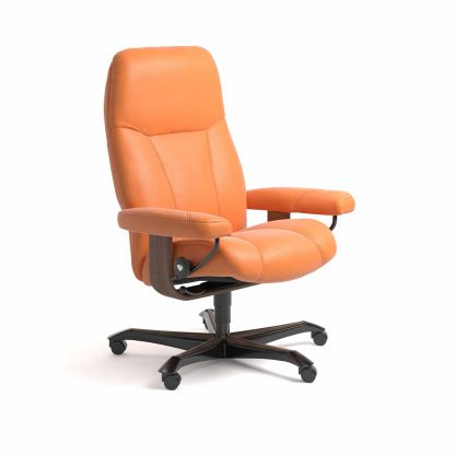Sessel CONSUL Home Office Leder Paloma apricot orange Gestell walnuss mit Rollen Stressless