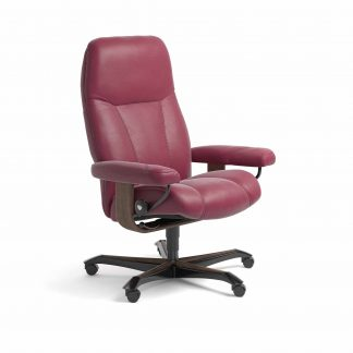 Sessel CONSUL Home Office Leder Paloma beet red Gestell walnuss mit Rollen Stressless