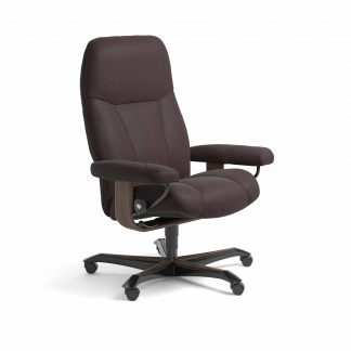 Sessel CONSUL Home Office Leder Paloma chocolate Gestell walnuss mit Rollen Stressless
