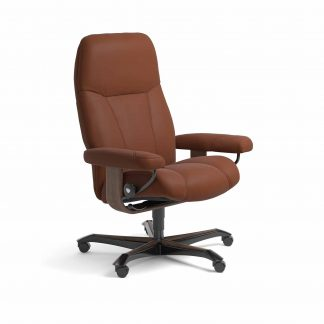Sessel CONSUL Home Office Leder Paloma copper Gestell walnuss mit Rollen Stressless
