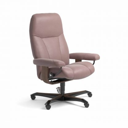 Sessel CONSUL Home Office Leder Paloma dusty rose Gestell walnuss mit Rollen Stressless