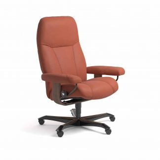 Sessel CONSUL Home Office Leder Paloma henna Gestell walnuss mit Rollen Stressless