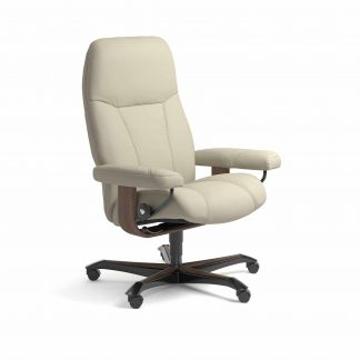Sessel CONSUL Home Office Leder Paloma light grey Gestell walnuss mit Rollen Stressless