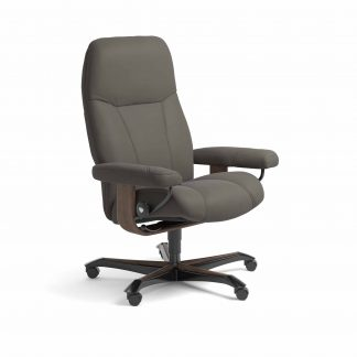 Sessel CONSUL Home Office Leder Paloma metal grey Gestell walnuss mit Rollen Stressless