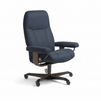 Sessel CONSUL Home Office Leder Paloma oxford blue Gestell walnuss mit Rollen Stressless