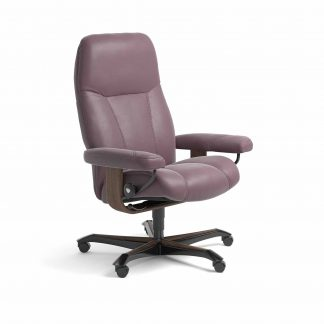 Sessel CONSUL Home Office Leder Paloma purple plum Gestell walnuss mit Rollen Stressless