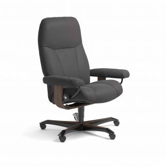 Sessel CONSUL Home Office Leder Paloma rock Gestell walnuss mit Rollen Stressless