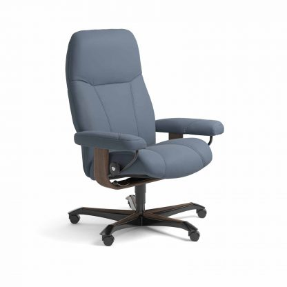 Sessel CONSUL Home Office Leder Paloma sparrow blue Gestell walnuss mit Rollen Stressless