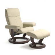 Stressless Sessel PEACE mit Leder Cori vanilla und Classic Untergestell wenge mit Hocker