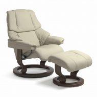 Stressless Sessel RENO mit Leder Paloma light grey und Classic Untergestell wenge mit Hocker