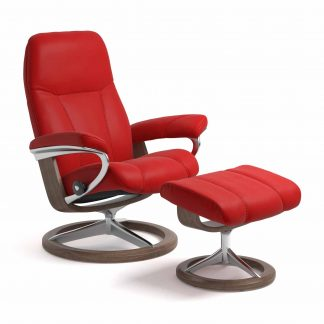 Sessel CONSUL Signature mit Hocker Leder Batick chilli red Gestell walnuss Stressless