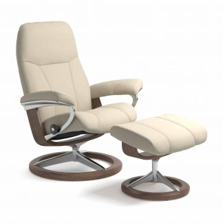 Sessel CONSUL Signature mit Hocker Leder Batick cream Gestell walnuss Stressless