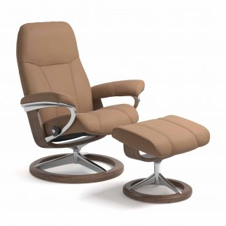 Sessel CONSUL Signature mit Hocker Leder Batick latte Gestell walnuss Stressless