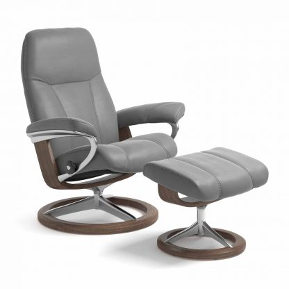 Sessel CONSUL Signature mit Hocker Leder Batick wild dove Gestell walnuss Stressless