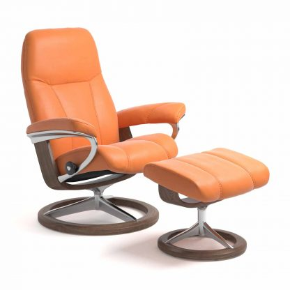 Sessel CONSUL Signature mit Hocker Leder Paloma apricot orange Gestell walnuss Stressless