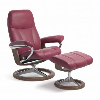 Sessel CONSUL Signature mit Hocker Leder Paloma beet red Gestell walnuss Stressless
