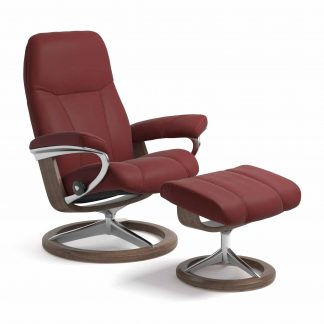 Sessel CONSUL Signature mit Hocker Leder Paloma cherry Gestell walnuss Stressless