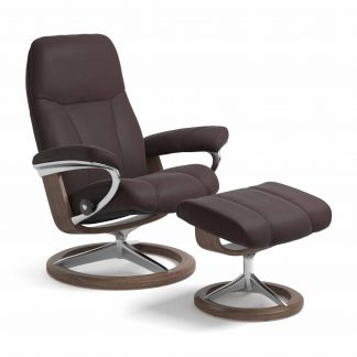 Sessel CONSUL Signature mit Hocker Leder Paloma chocolate Gestell walnuss Stressless