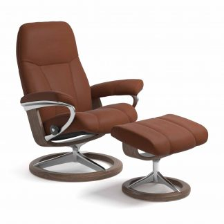 Sessel CONSUL Signature mit Hocker Leder Paloma copper Gestell walnuss Stressless