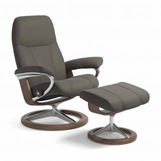 Sessel CONSUL Signature mit Hocker Leder Paloma metal grey Gestell walnuss Stressless