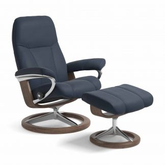 Sessel CONSUL Signature mit Hocker Leder Paloma oxford blue Gestell walnuss Stressless