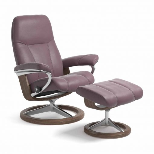 Sessel CONSUL Signature mit Hocker Leder Paloma purple plum Gestell walnuss Stressless