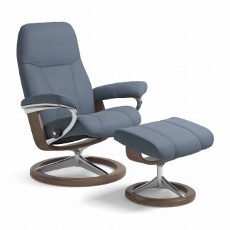 Sessel CONSUL Signature mit Hocker Leder Paloma sparrow blue Gestell walnuss Stressless