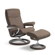 Stressless Sessel PEACE mit Lederbezug Batick mole und Signature Untergestell wenge mit Hocker