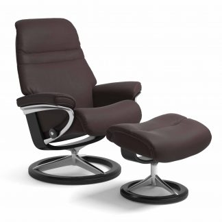 Sessel SUNRISE Signature mit Hocker Leder Paloma chocolate Gestell schwarz Stressless