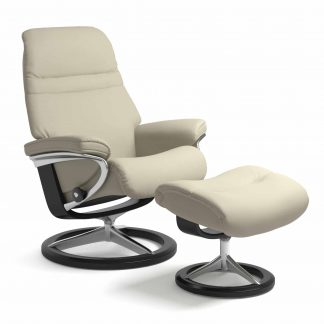 Sessel SUNRISE Signature mit Hocker Leder Paloma light grey Gestell schwarz Stressless