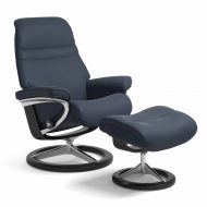 Sessel SUNRISE Signature mit Hocker Leder Paloma oxford blue Gestell schwarz Stressless