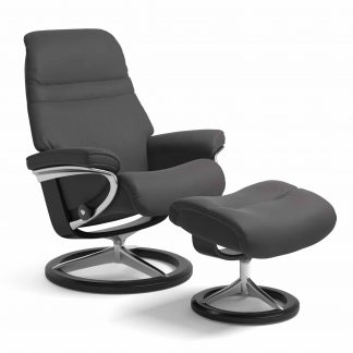 Sessel SUNRISE Signature mit Hocker Leder Paloma rock Gestell schwarz Stressless